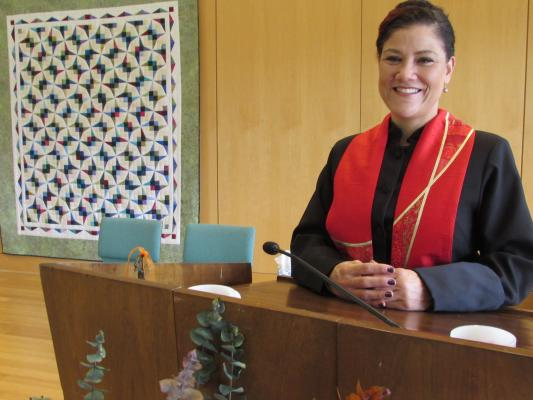 The Rev. Rebekah A. Savage in UUCR's pulpit.